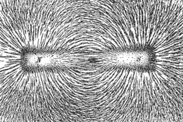 Magnetic lines of force of a bar magnet shown by iron filings on paper from Practical Physics, publ. 1914 by Macmillan and Company