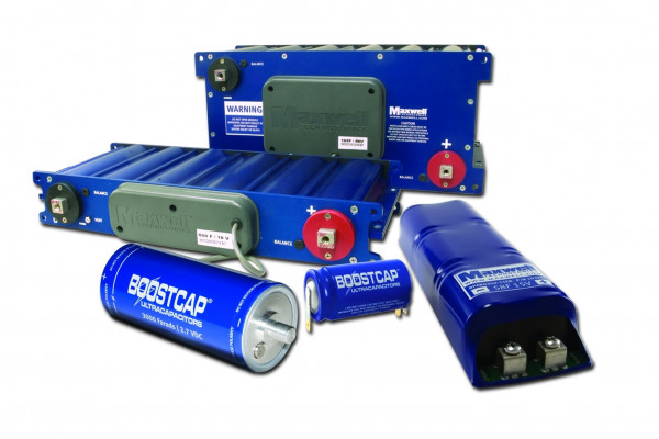 A photo of supercapacitors BC and MC product ranges by Maxwell Technologies