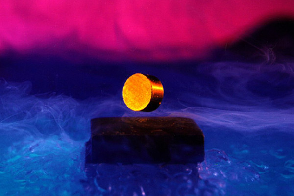 A levitating magnet over a superconductor