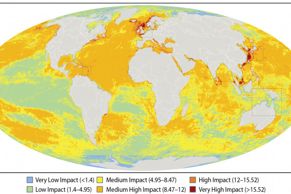 A global map of the overall impact that 17 different human activities are having on marine ecosystems. B.S Halpern / Science
