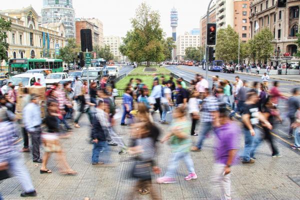Pedestrians walking in a city