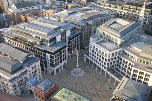 The London Stock Exchange - a view from the south of Paternoster Square in London, England from the top viewing deck of St. Paul's Cathedral.