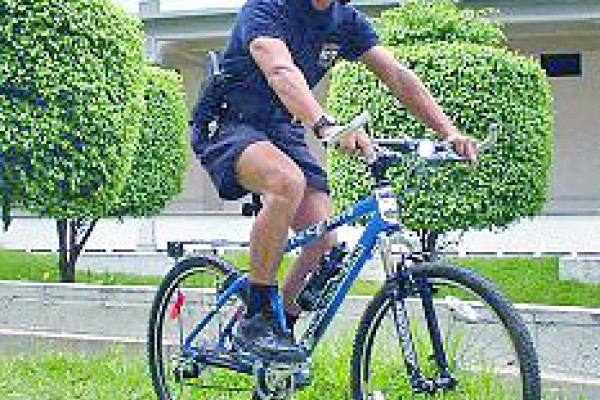 Police officer on a bicycle