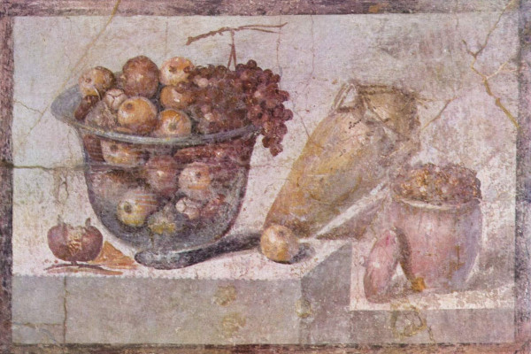 Roman painting. Second Pompeian Style, from the House of Julia Felix in Pompeii. Depicts a bowl of fruit and vases.