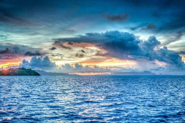 Ocean and an island