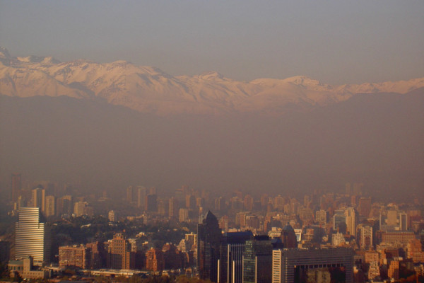 Smog over Santiago in Chile. This can be caused by nitrogen oxides in the atmosphere.