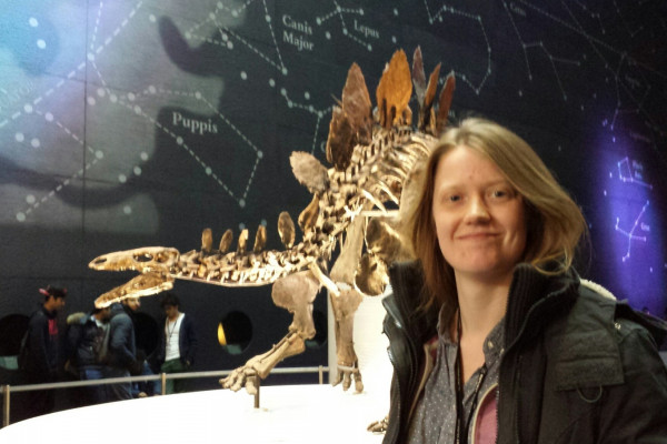 Sophie the Stegosaurus and Natural History Museum dinosaur researcher Charlotte Brassey