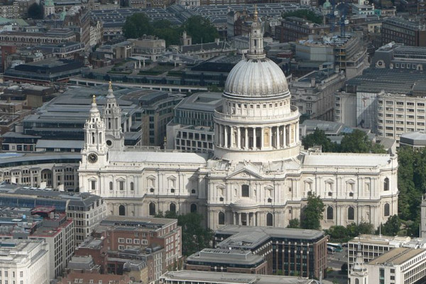 An aerial view of St Paul's cathedral
