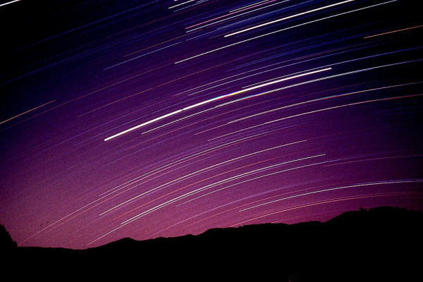 Fixed tripod mounted camera star trails - astrophotography