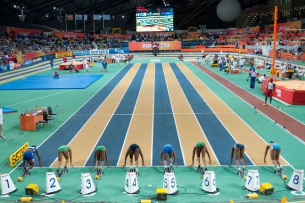 Women 60 m final during Doha 2010 World Indoor Championships