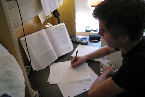 A Student of the University of British Columbia studying for final exams.