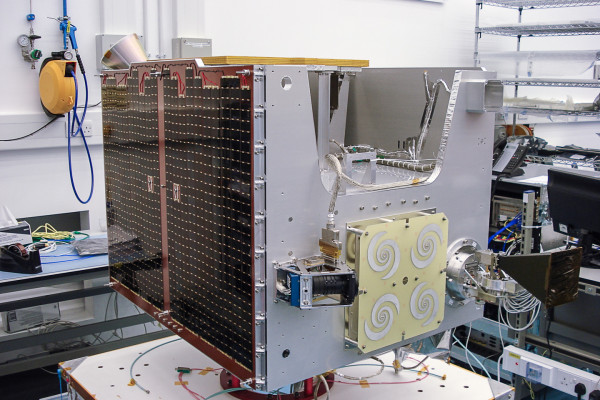 TechDemoSat-1 during final module integration and test phase in SSTL's AIT hall, October 2012
