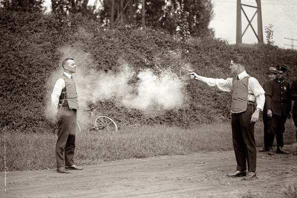 Testing a bulletproof vest in Washington, D.C. September 1923