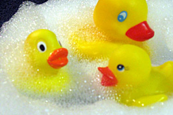 Three yellow rubber ducks play in the bubble bath!