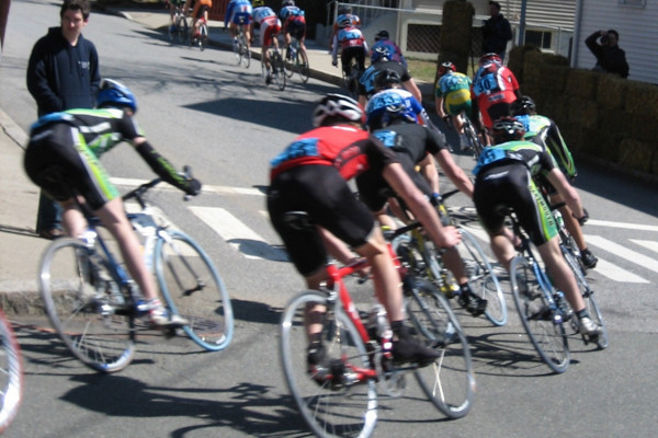 Photo of a criterium road bicycle race.