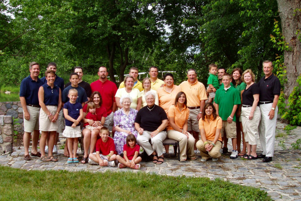 Typical extended middle-class U.S. family from Indiana of Danish/German extraction. The woman in the lavender print dress is the 87-year-old great grandmother; her daughter, a 67-year-old grandmother, is next to her. They are surrounded by the third...