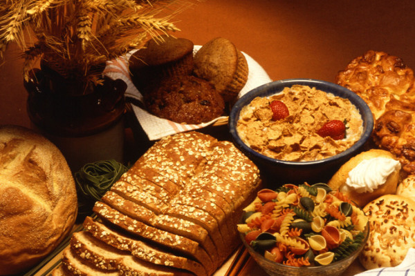 A variety of foods made from wheat, which contains gluten.