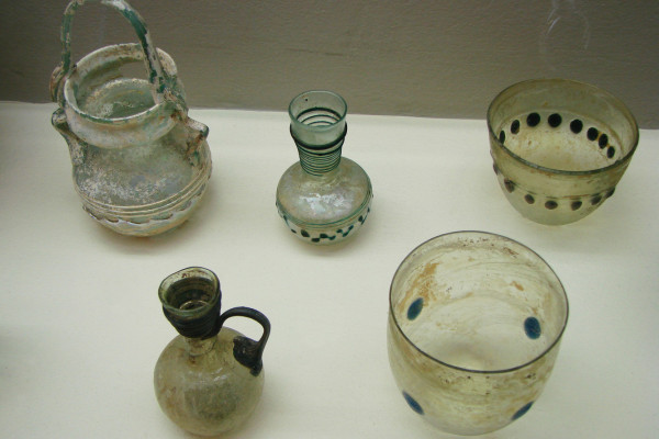 Selection of 4th century Gallo-Roman glass, from the Museum Saint-Remi à Reims, Marne, France.