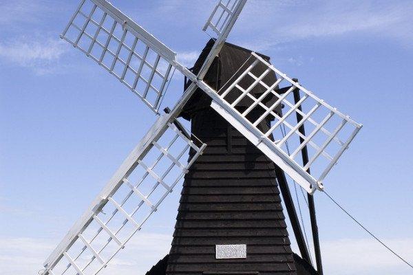 The Windpump at Wicken Fen, Cambridgeshire. This windpump is the only working wooded windpump in the Fens.