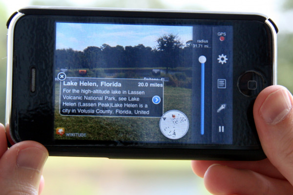 iPhone using the Wikitude application, demonstrating an example of Augmented Reality