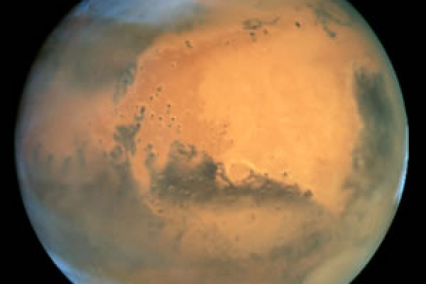 Figure 3: Mars. This image illustrates the amount of detail that can be generated from the Hubble telescope. It captures details only 16 km across, even though it is operating at 68 million km from the planet.