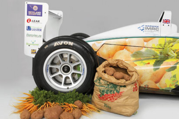 Car made from carrots and potatoes and driven on chocolate