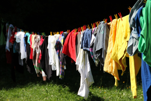 Laundry drying on a washing line