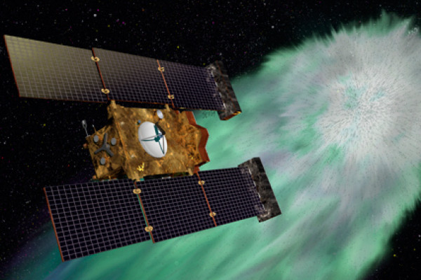 Artist's concept of NASA's Stardust-NExT mission, which flew by comet Tempel 1 on Feb. 14, 2011.
