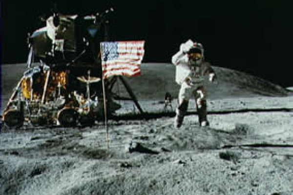 The Apollo-16 astronauts on the surface of the moon