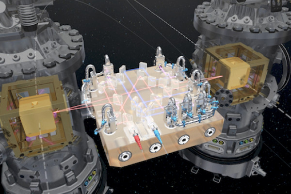 At the core of LISA Pathfinder are the two test masses: a pair of identical 46 mm gold–platinum cubes, floating freely, several millimetres from the walls of their housings. The cubes are separated by 38 cm and linked only by laser beams to measure...