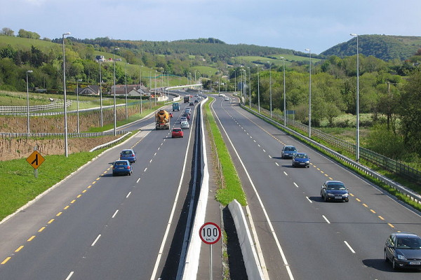 motorway verge, median barrier on the N11 dual-carriageway looking south towards the Glen of the Downs in Co. Wicklow, Ireland