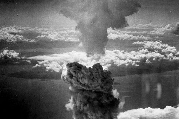 The mushroom cloud over Nagasaki in World War 2.