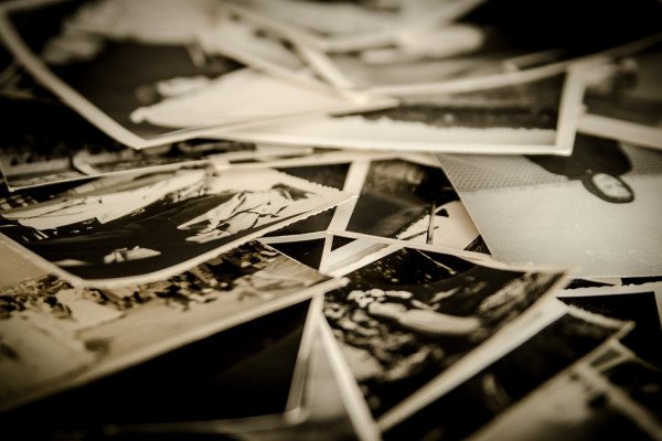 Pile of old, black and white photographs