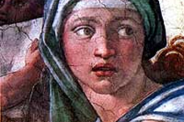 A representation of the Pythia by Michelangelo, Cappella Sistina, Rome, Italy.