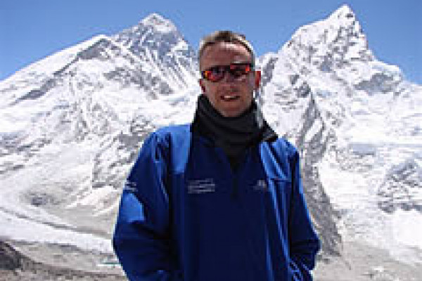 Richard Turner at Everest Base Camp as part of the extreme Everest expedition to understand how the body handles hypoxia (low oxygen).