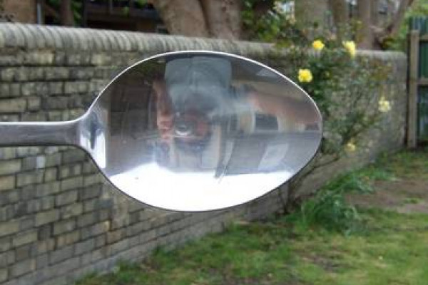 If you look into a spoon, your reflection is upside down.