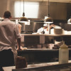 Chefs at work in a professional kitchen