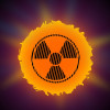 radioactivity symbol overlaid on the sun