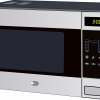 A silver digital microwave