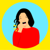 Clip art of a woman coughing