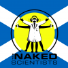 The Naked Scientists' logo in front of the Scotland flag