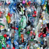 A large block of crushed plastic drinks bottles