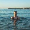 A swimmer in the sea.