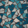 Blue and white mosaic tiles.