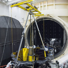 JWST being prepared for the Space Environment Simulation Laboratory's Chamber A.