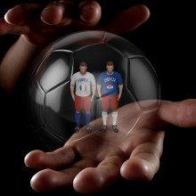 Football players inside a see-through football