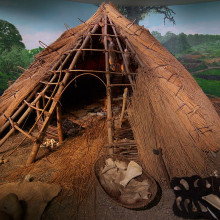 A reconstruction of the sort of hut used by the original builders of Knowth, Dowth and Newgrange at the Brú na Bóinne complex.