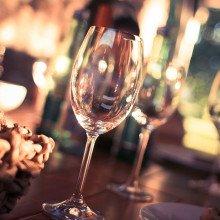 Wine glasses on a bar