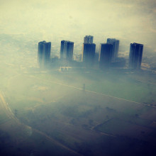 Air pollution above a city