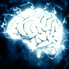 A brain sparking with electricity.